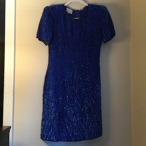 Dresses & Skirts - Vintage Royal Blue Sequined Cocktail Dress
